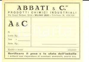 1950 ca MILANO Ditta ABBATI Prodotti chimici industriali - Etichetta spedizioni