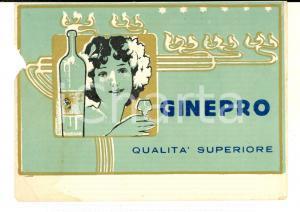 1920 ca Liquore GINEPRO Qualità superiore - Etichetta pubblicitaria 13x9 cm