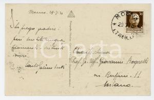 1930 MOENA Veduta in VAL DI FASSA *Cartolina Carlo GALIMBERTI al prof. BOGNETTI