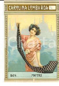 1920 ca Tessuti CAROLINA LOMBARDA *Etichetta pubblicitaria VINTAGE 13x10 cm