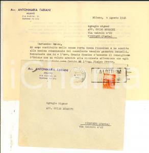 1946 STORIA POSTALE MILANO Lettera Antonmaria FABIANI L.4 + timbro LOTTERIA