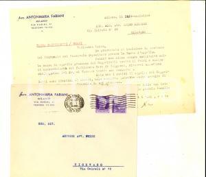 1944 STORIA POSTALE RSI MILANO Lettera Antonmaria FABIANI 50 cent PROPAGANDA