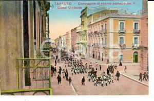 1917 TARANTO Compagnie di sbarco in corso UMBERTO *Cartolina ANIMATA FP