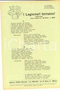 1938 L. DE SILVA - A. ORFEI I Legionari tornano! *Volantino con testo canzone