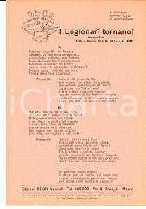 1938 L. DE SILVA - A. ORFEI I Legionari tornano! - Volantino con testo canzone