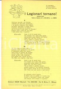 1938 L. DE SILVA - A. ORFEI I Legionari tornano! (marcia) *Volantino canzone