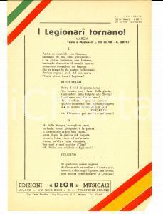 1938 L. DE SILVA e A. ORFEI I Legionari tornano! (marcia) *Volantino canzone