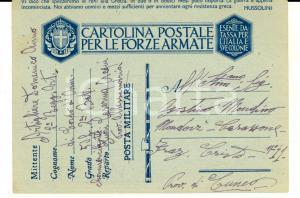 1941 WW2 ACQUI TERME Cartolina franchigia Domenico AIMO - Caserma artiglieria