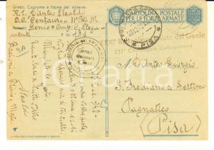 1942 WW2 ZONA DI GUERRA Cartolina Elealdo D'ANTEO XXXI° Battaglione GENIO