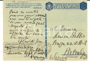 1943 PARMA Scuola Applicazione Fanteria - Cartolina cap. Gian Cristoforo BOBBIO