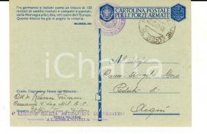 1942 ALESSANDRIA 4^ Legione Milizia ARTIGLIERIA CONTROAEREA Cartolina franchigia