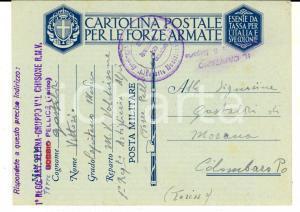 1940 WW2 BOBBIO POLLICE 1° Reggimento ARTIGLIERIA ALPINA Cartolina franchigia