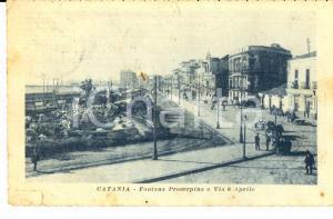 1919 CATANIA Fontana Proserpina e via 6 Aprile *Cartolina ANIMATA FP VG