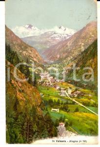 1909 ALAGNA VALSESIA (VC) Veduta panoramica *Cartolina ILLUSTRATA FP VG