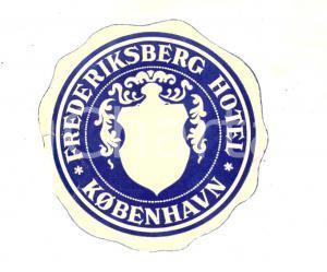 1950 ca KOBENHAVN (DENMARK) Frederiksberg Hotel *Etichetta pubblicitaria 10 cm