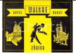 1950 ca ZURICH Hotel Walche Garni *Etichetta pubblicitaria 13x9 cm