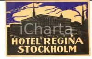 1940 ca STOCKHOLM Hotel REGINA Etichetta pubblicitaria VINTAGE 13x8 cm