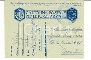 1941 WW2 NAPOLI Cartolina franchigia Luigi PAVESI - 76° Fanteria Deposito