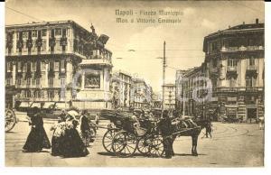 1917 NAPOLI Piazza Municipio - Monumento a Vittorio Emanuele *Cartolina ANIMATA