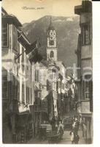 1915 ca MERANO (BZ) Veduta con i portici *Cartolina ANIMATA VINTAGE FP NV