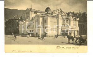 1900 ca MERANO (BZ) Teatro cittadino*Cartolina ANIMATA carrozza FP NV