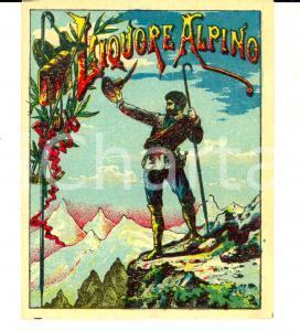 1950 ca LIQUORE ALPINO Etichetta pubblicitaria VINTAGE 13x10 cm