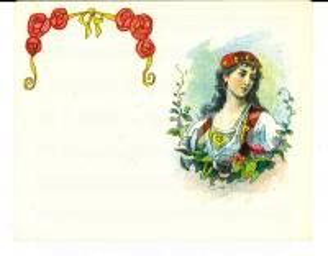 1920 ca LIQUORI Etichetta pubblicitaria con donna in costume *VINTAGE 14x10
