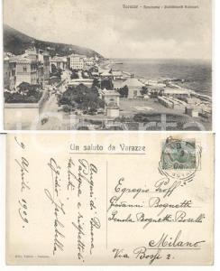1909 VARAZZE (SV) Panorama e bagni *Cartolina Egidio ISOLABELLA Autografo