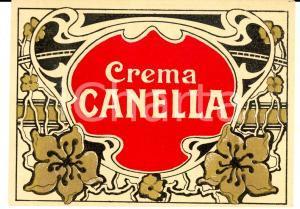 1920 ca CREMA CANELLA - Etichetta pubblicitaria liquore VINTAGE 13x10 cm