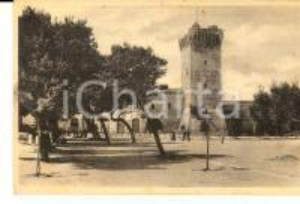 1915 ca PORTO RECANATI Piazza Umberto I e castello *Cartolina ANIMATA FP NV