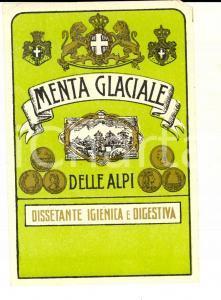 1950 ca Liquore MENTA GLACIALE DELLE ALPI Etichetta pubblicitaria VINTAGE 10x13