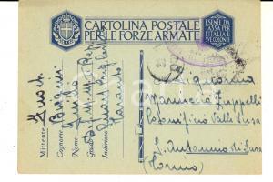 1943 WW2 TARANTO Reparto prigione castello - Cartolina Giulio BIAGINI Franchigia