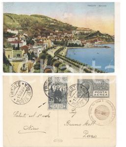 1926 STORIA POSTALE REGNO TRIESTE Barcola - Cartolina 60 cent. POSTA AEREA RARA