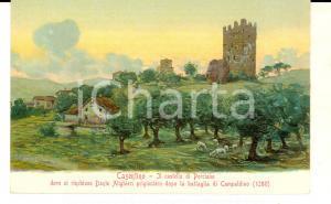 1917 STIA (AR) Veduta del castello di PORCIANO *Cartolina ILLUSTRATA FP