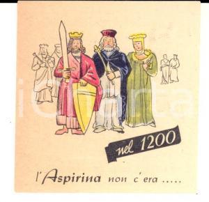 1941 BAYER ASPIRINA Biglietto pubblicitario COSTUMI MEDIEVALI 6x6 cm