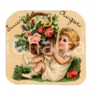 1910 ca ITALIA Biglietto di auguri con cesto floreale *COLLAGE 6x6 cm