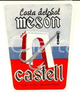 1950 ca GRANADA - COSTA DEL SOL Meson Castell *Etichetta pubblicitaria 11x13 cm