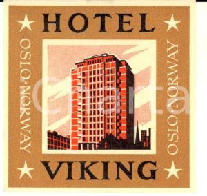 1950 ca OSLO (NORWAY) Hotel VIKING *Etichetta pubblicitaria ILLUSTRATA 8x8