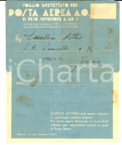 1937 STORIA POSTALE Foglio brevettato per POSTA AEREA A. O. inf. gr. 5
