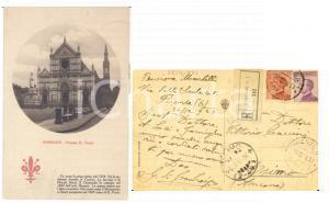 1924 STORIA POSTALE FIRENZE Chiesa S. CROCE *Cartolina MICHETTI non dentellati