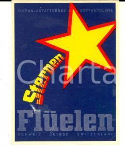 1952 FLUELEN (SCHWEIZ) STERNEN Vierwaldstattersee - Gottardlinie *Etichetta 13x8 cm