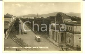 1943 LIVORNO Cisternone e viale CARDUCCI *Cartolina ANIMATA autobus FP VG