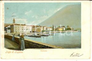 1902 PORLEZZA (CO) Veduta con il LAGO DI LUGANO *Cartolina ILLUSTRATA FP VG