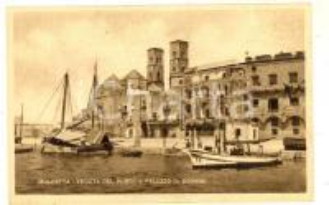 1930 ca MOLFETTA (BA) Veduta del porto e Palazzo di Dogana *Cartolina ANIMATA