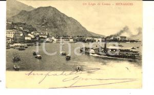 1904 MENAGGIO (CO) Lago di COMO con vaporetto in arrivo *Cartolina FP VG