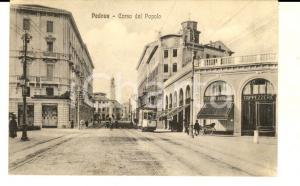 1916 PADOVA Corso del Popolo e pensione RODI *Cartolina ANIMATA tram