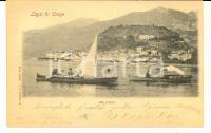 1900 BELLAGIO Veduta dal lago di Como *Cartolina ANIMATA barche FP VG