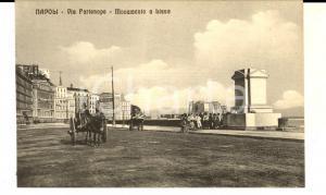 1915 ca NAPOLI Via PARTENOPE - Monumento a Lissa *Cartolina ANIMATA carretto