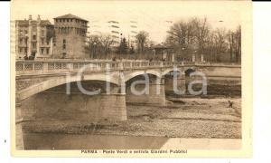 1930 PARMA Ponte VERDI ed entrata dei Giardini Pubblici *Cartolina VINTAGE FP VG