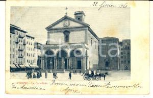 1906 LIVORNO Veduta della cattedrale *Cartolina ANIMATA carrozza FP VG